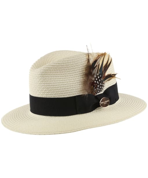 Women's Hicks & Brown The Aldeburgh Fedora - Guinea and Pheasant Feathers - Cream