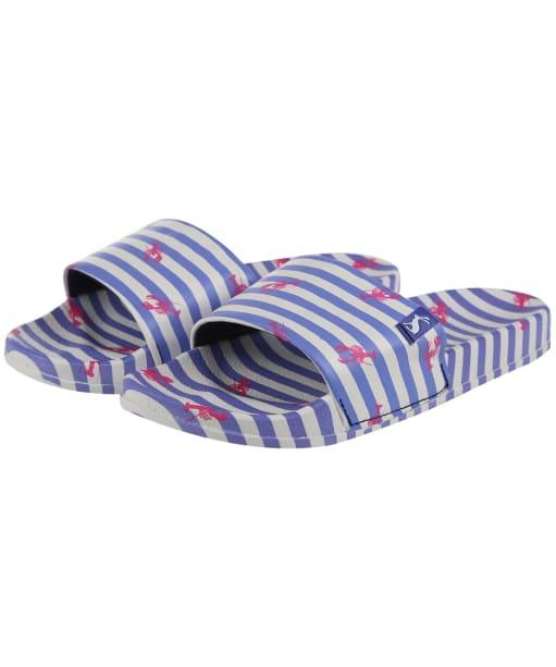 Women's Joules Poolside Printed Sliders - Blue Stripe