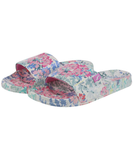 Women's Joules Poolside Printed Sliders - White Floral