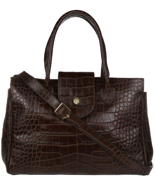 Women's Fairfax & Favor Langley Handbag - Chocolate Croc Leather