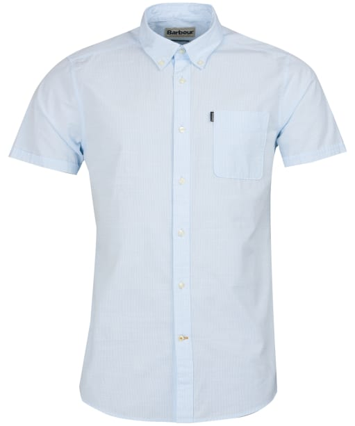Men's Barbour Stripe 4 Short Sleeved Tailored Shirt - Blue