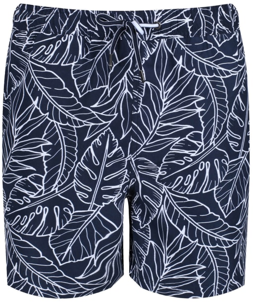 Men's Crew Clothing Linear Leaf Swim Shorts - Navy