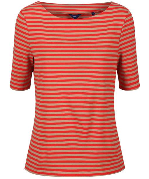 Women's GANT Boatneck Striped Top - Blood Orange