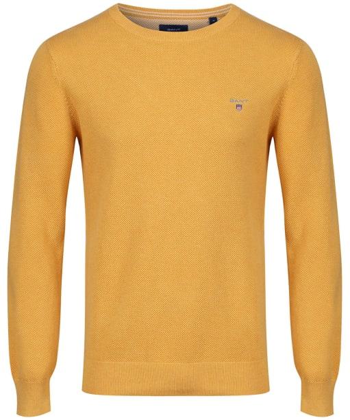 Men's GANT Piqué Crewneck Sweater - Golden Yellow Melange