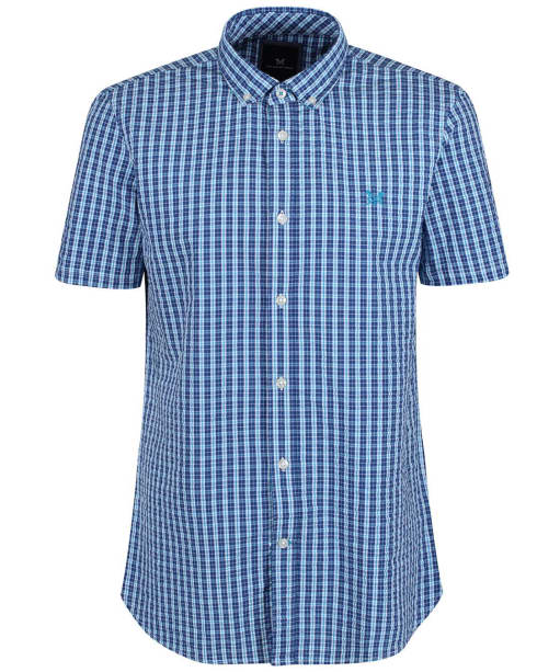Men's Crew Clothing Seersucker Short Sleeve Shirt - Bright Blue