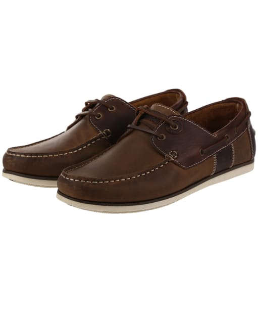 Men's Barbour Capstan Boat Shoes - Beige / Brown Leather