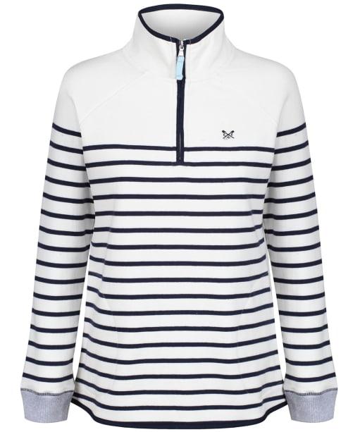 Women's Crew Clothing Half Zip Sweatshirt - White / Navy