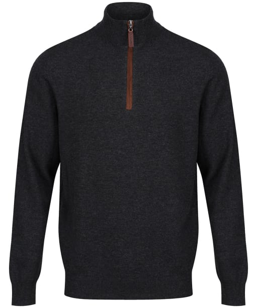 Men's Schoffel Merino Cashmere ¼ Zip Jumper - Charcoal