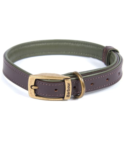 Barbour Padded Leather Dog Collar - Brown / Olive