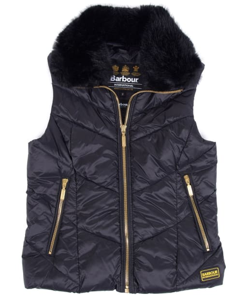 Girl's Barbour International Nurburg Quilted Gilet, 10-15yrs - Black