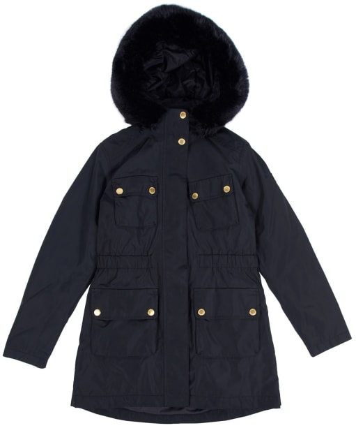 Girl's Barbour International Horsepower Waterproof Jacket, 2-9yrs - Black