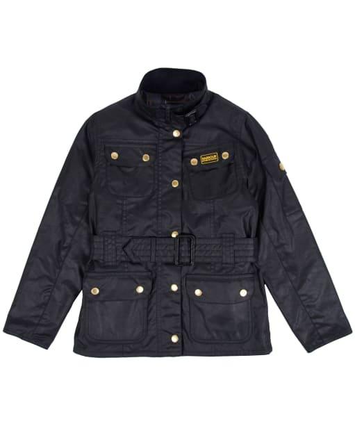 Girl's Barbour International Waxed Jacket, 2-9yrs - Black
