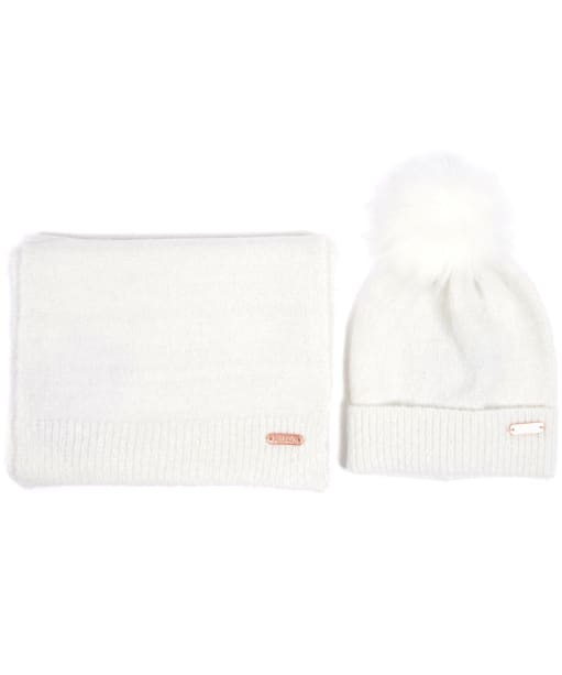 Women's Barbour International Knitted Hat and Scarf Gift Set - Cloud