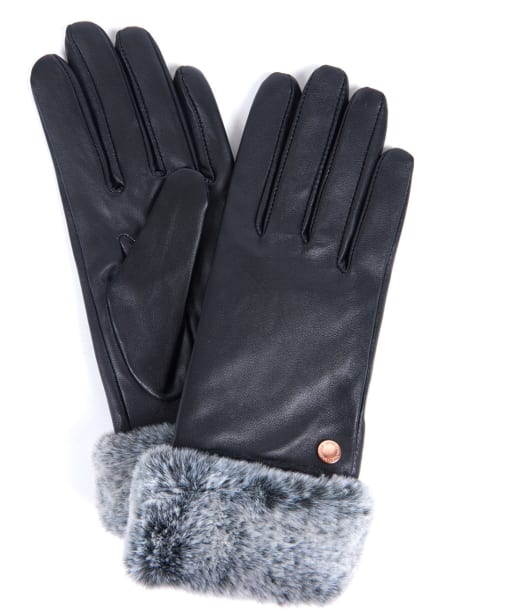Women's Barbour International Kirk Leather Gloves - Black / Grey