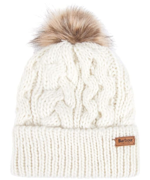 Women's Barbour Penshaw Cable Beanie - Cloud