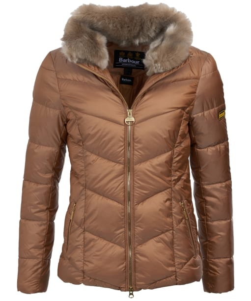 Women's Barbour International Nurburg Quilted Jacket - Light Gold