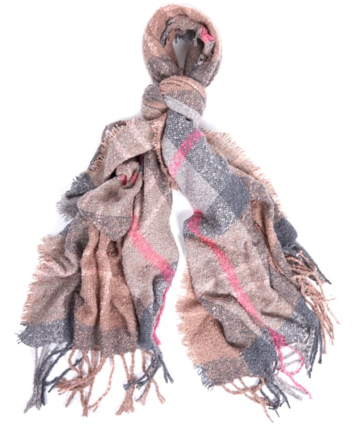 Women's Barbour Tartan Boucle Scarf - Taupe / Pink