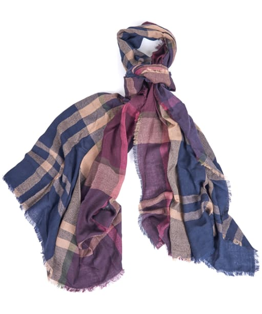 Women's Barbour Lawers Tartan Scarf - Damson