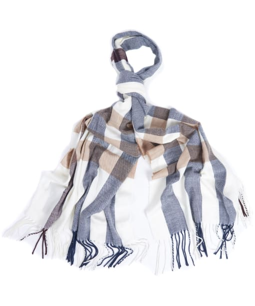 Women's Barbour Skye Check Scarf - Cloud / Navy