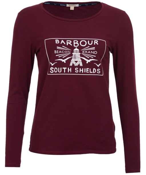Women's Barbour Aydon Long Sleeved Tee - Bordeaux