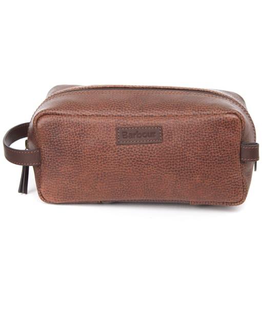 Barbour Tartan Laddon Leather Wash Bag - Brown