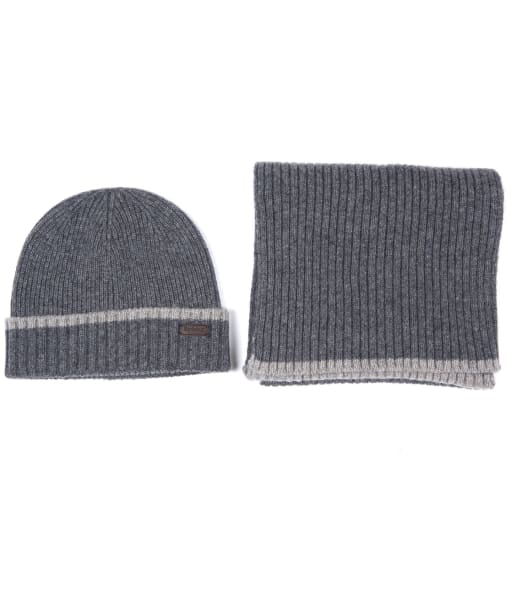 Men's Barbour Cromer Beanie and Scarf Gift Set - Grey