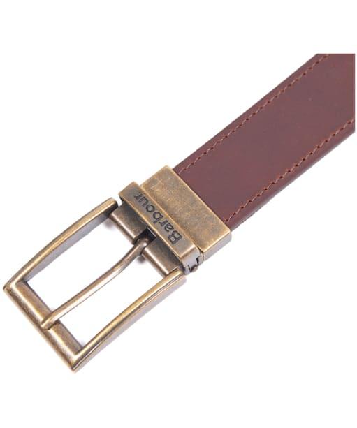 Men's Barbour Reversible Tartan Leather Belt - Classic Tartan / Brown