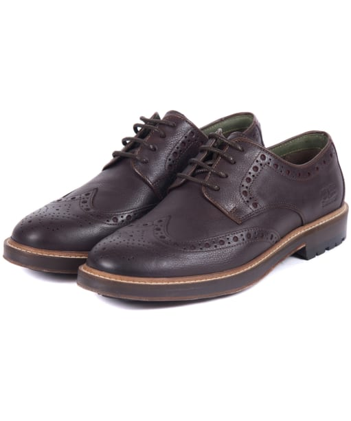 Men's Barbour Ouse Brogue Shoes - Dark Brown