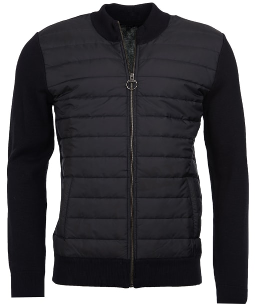 Men's Barbour Carn Baffle Zip Thru Quilted Sweater - Black