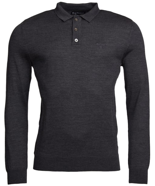 Men's Barbour Merino Long Sleeve Polo Top - Charcoal