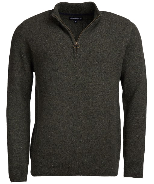 Men's Barbour Tisbury Half Zip Sweater - Dark Seaweed