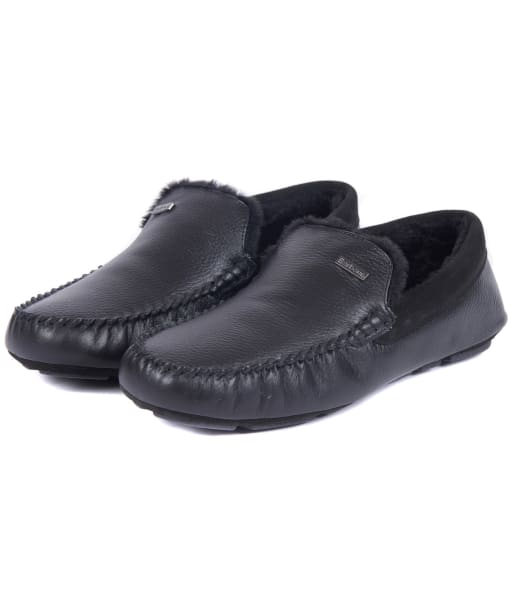 Men's Barbour Monty Slippers - Black Leather