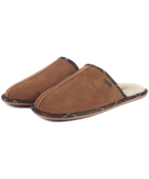 Men's Barbour Malone Mule Slippers - Camel Suede