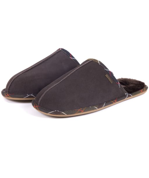 Men's Barbour Malone Mule Slippers - Brown Suede