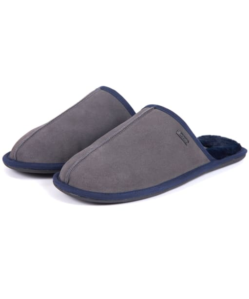 Men's Barbour Malone Mule Slippers - Grey Suede