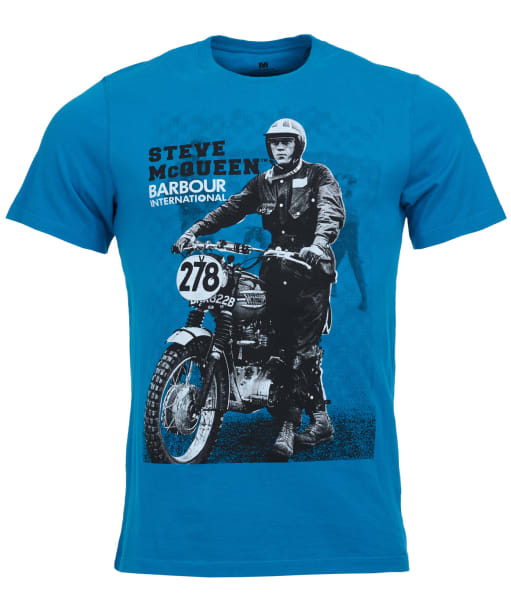 Men's Barbour Steve McQueen Stand and Ride Tee - Mid Blue
