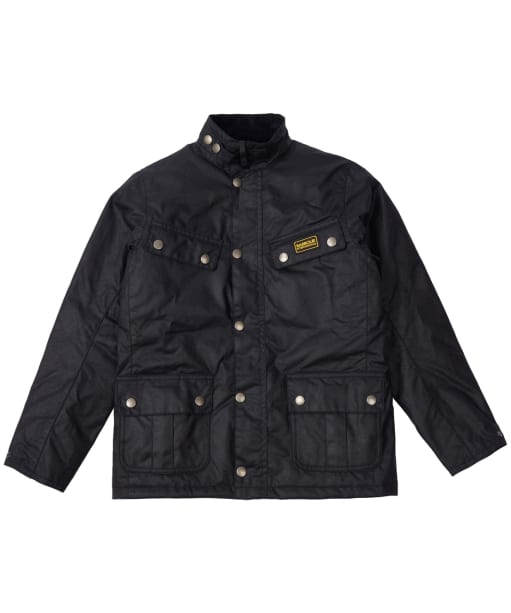 Boy's Barbour International Duke Waxed Jacket, 10-15yrs - Black