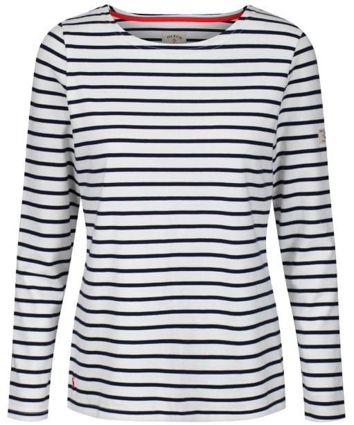 Women's Joules Long Sleeved Harbour Top - Cream / Navy Stripe