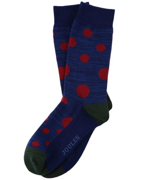 Men's Joules Striking Single Socks - Blue / Red Spot
