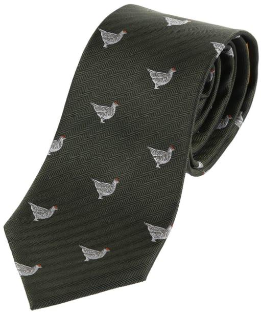 Men's Schoffel Waltham Silk Tie - Olive Ptarmigan
