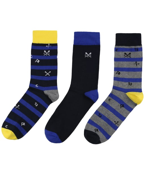Men's Crew Clothing 3 Pack Socks - Navy Stripe