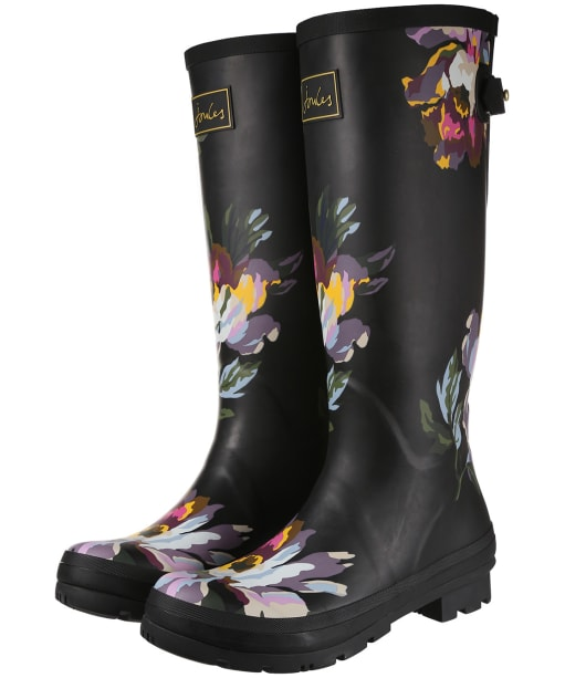 Women's Joules Welly Print Wellington Boots - Black Floral