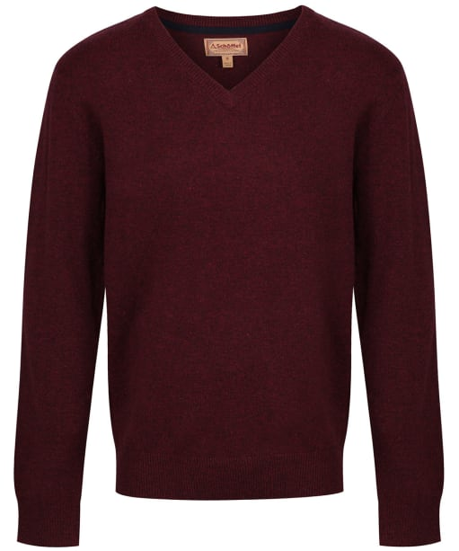 Men's Schoffel Lambswool V Neck Sweater - Damson