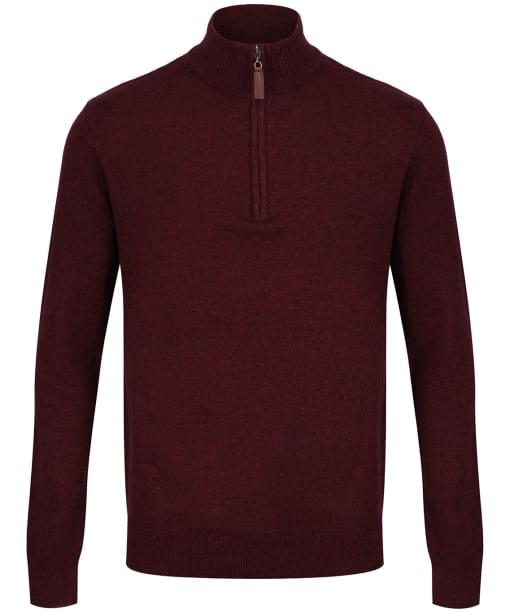 Men's Schoffel Lambswool ¼ Zip Sweater - Damson