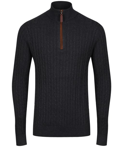 Men's Schoffel Cotton Cashmere Cable 1/4 Zip Sweater - Charcoal