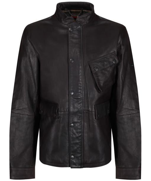Men's Barbour International Thunder Leather Jacket - Brown