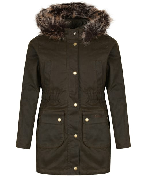 Girl's Barbour Thrunton Waxed Jacket, 2-9yrs - Olive