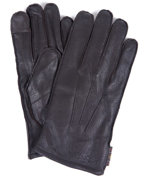Men's Barbour Bexley Leather Gloves - Chocolate