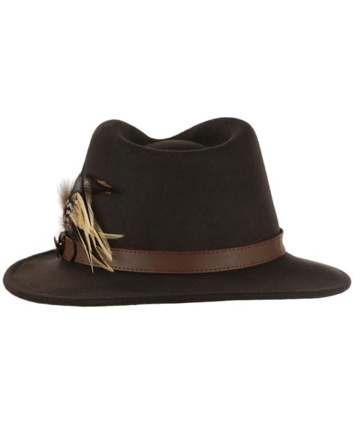 Women's Hicks & Brown The Suffolk Fedora - Guinea and Pheasant Feather - Brown