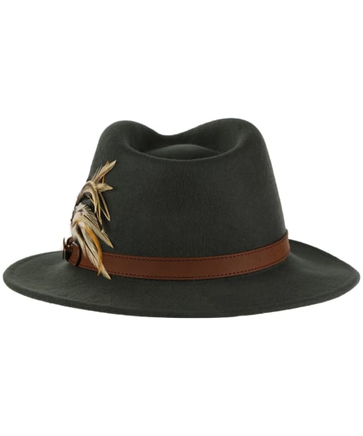 Women's Hicks & Brown The Suffolk Fedora - Guinea and Pheasant Feather - Olive